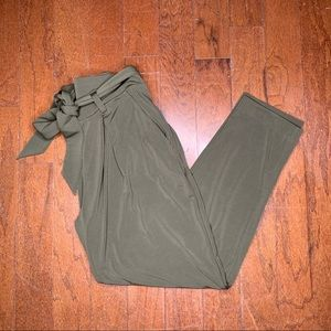 Express Olive High Waisted Paperbag Ankle Pant